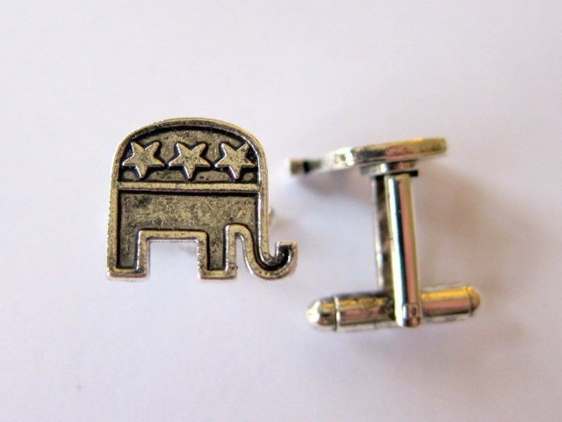 silver republican elephant cufflinks image 0