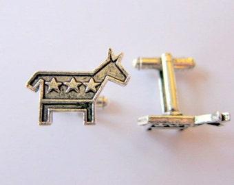 silver democrat donkey cufflinks