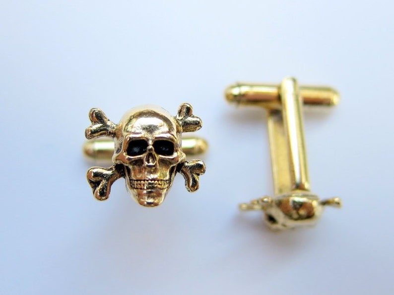 Gold Skull and Crossbones Cuff Links image 0