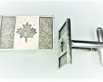 Silver Canada Flag Cuff Links