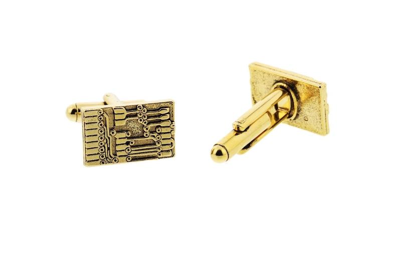 Gold Circuit Board Cuff Links image 0