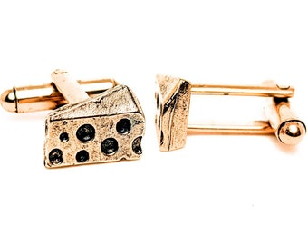Gold Cheese Cuff Links