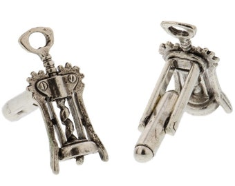 silver wine corkscrew cuff links