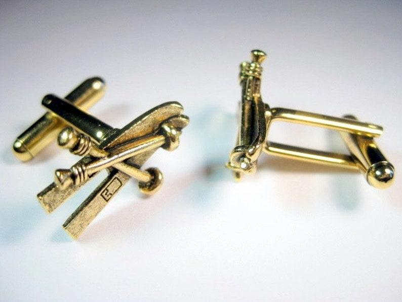 Gold Ski Cuff Links image 1