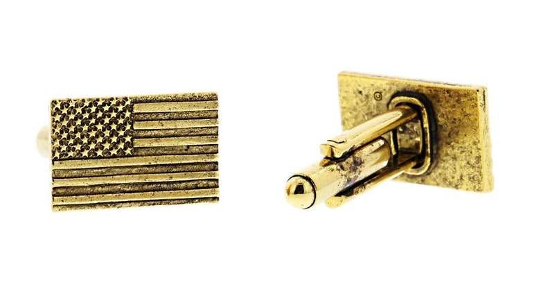 Gold American Flag Cuff Links image 0