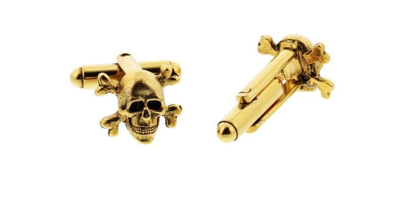 Gold Skull and Crossbones Cuff Links image 0