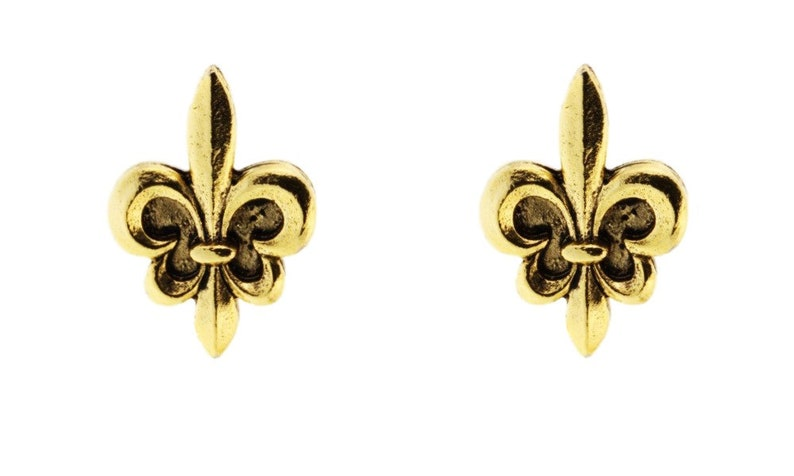 gold fleur de lys smooth cuff links image 0