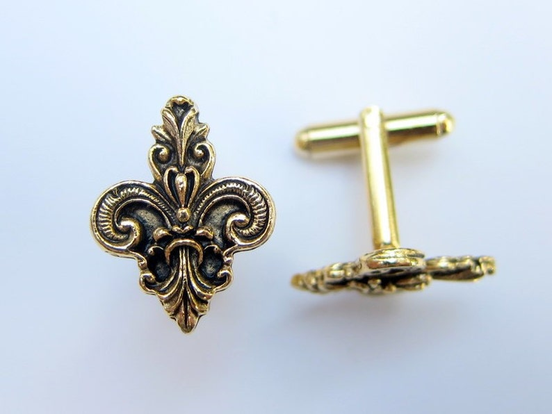 Gold Fleur de Lis Ornate Cuff Links