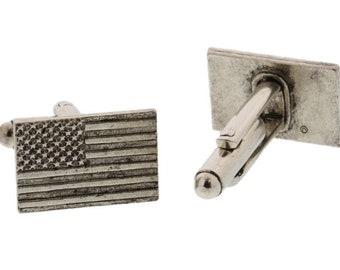 Silver American Flag Cuff Links