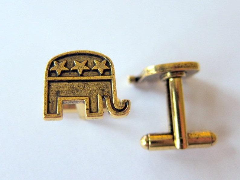 gold republican elephant cufflinks image 0