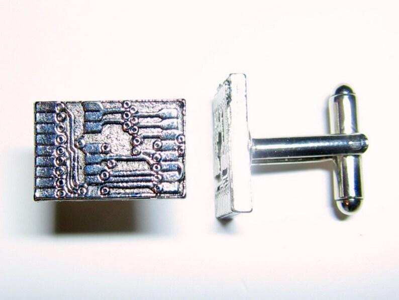 Silver Circuit Board Cuff Links image 0
