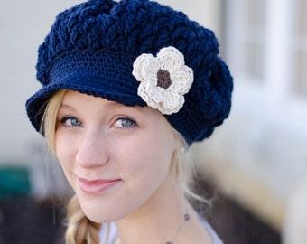 Women's Crochet Newsboy Hat, Hat for Women, Navy Blue Hat for Women, Women's Hat, Slouchy Hat with Brim for Women,Women's Slouchy Hat