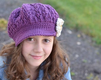 Girls Hat, Girl's Newsboy Hat, Slouchy Hat, Crochet Slouchy Hat, Slouchy Beanie with Brim, Toddler Hats for Girls, Girls Slouchy Beanie, Hat