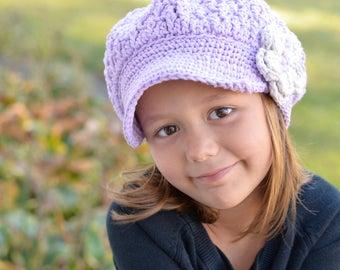 Lavender Crochet Hat, Girls Crochet Hat, Slouchy Newsboy Hat, Crochet Hat Custom Color Option, Size Child Teen Adult, The Buttercup Cap
