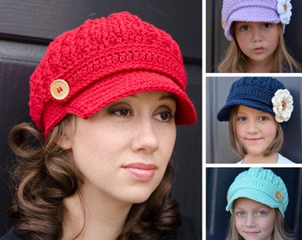 Crochet Hat Pattern, Womens Crochet Hat Pattern, Crochet Newsboy Hat, Pattern Crochet Hat, Crochet Hats, Kids Hat, The Tommy Hat Pattern 115