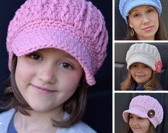 Crochet Pattern, Crochet Hat Pattern for Women, Women's Crochet Hat Pattern, Women's Hats, Fashion, Chunky Cable Newsboy Hat Pattern #105