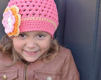 Pink Coral Crochet Hat, Crochet Little Girl Hat, Crochet Beanie, Crochet Hat Kids, Little Girl Hat, Winter Hat, Children, Teen, Adult