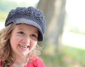 Crochet Hat, Crochet Newsboy Hat, Newsboy Hats for Kids, Black Crochet Hat for Girls, Crochet Children's Hat, Hats to Teens, Hats for Women