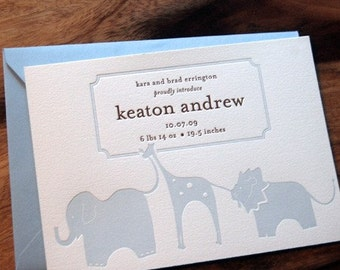 Letterpressed Baby Announcements - Zoo