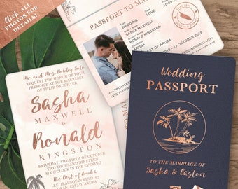 Passport invitation etsy destination wedding invitation passport invitation tropical invitation set in rose gold and blush watercolor by luckyladypaper filmwisefo