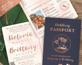 Rose Gold Watercolor Tropical Destination Wedding Passport Invitation Set By Luckyladypaper