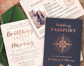 Passport invitation etsy destination wedding passport invitation set in rose gold and blush watercolor compass design by luckyladypaper see item details to order filmwisefo