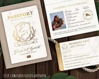 Destination Wedding Passport Invitation Set Monogram Crest Design Gold Marble By Luckyladypaper