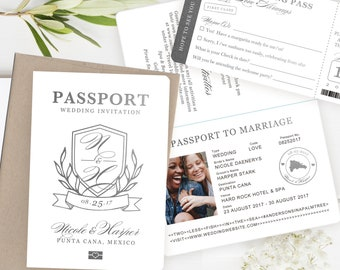 2455d12aac6f9 Destination Wedding Passport Invitation Set Monogram Crest Design in Silver  by Luckyladypaper - see item details to order