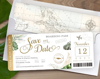 Boarding Pass Save the Date or Invitation Tropical Destination Wedding in Gold Foil Aqua Watercolor Real Gold Foil Available