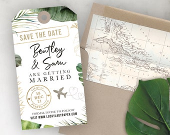 Luggage Tag Shaped Save the Date - Destination Wedding Save the Date Invitation - Tropical Greenery Palm Leaf Leaves by Lucky Lady Paper