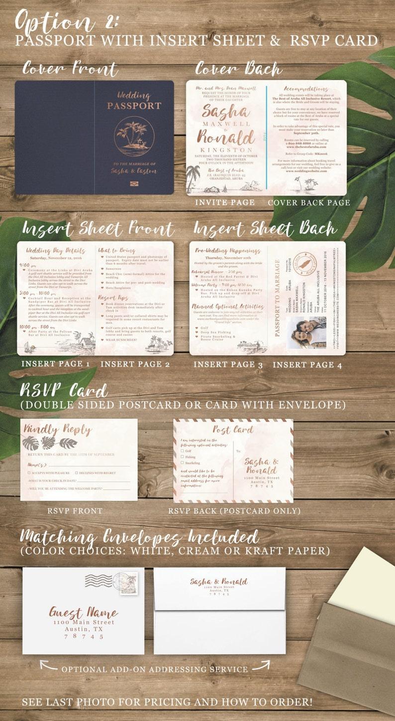 Destination Wedding Passport Invitation Set in Rose Gold and  459cc00a4863