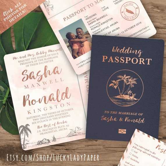 Save The Date Destination Wedding Invitations: Beach Wedding Passport Save The Date Destination