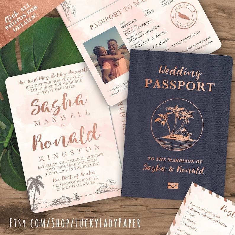 b4a1e180 Beach Wedding Passport Save the Date Destination Invitation | Etsy