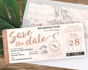 Destination Wedding Boarding Pass Save the Date Invitation in Rose Gold and Blush Watercolor by Luckyladypaper - see item details to order