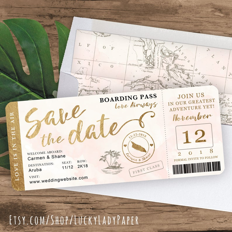 Destination Wedding Boarding Pass Save the Date Invitation in image 0