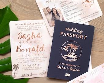 Destination Wedding Invitation Passport Invitation Tropical Invitation Set in Rose Gold and Blush Watercolor by Luckyladypaper