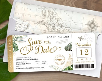 Destination Wedding Boarding Pass Save the Date Invitation Tropical Green Leaves and Gold with Airplane by Luckyladypaper