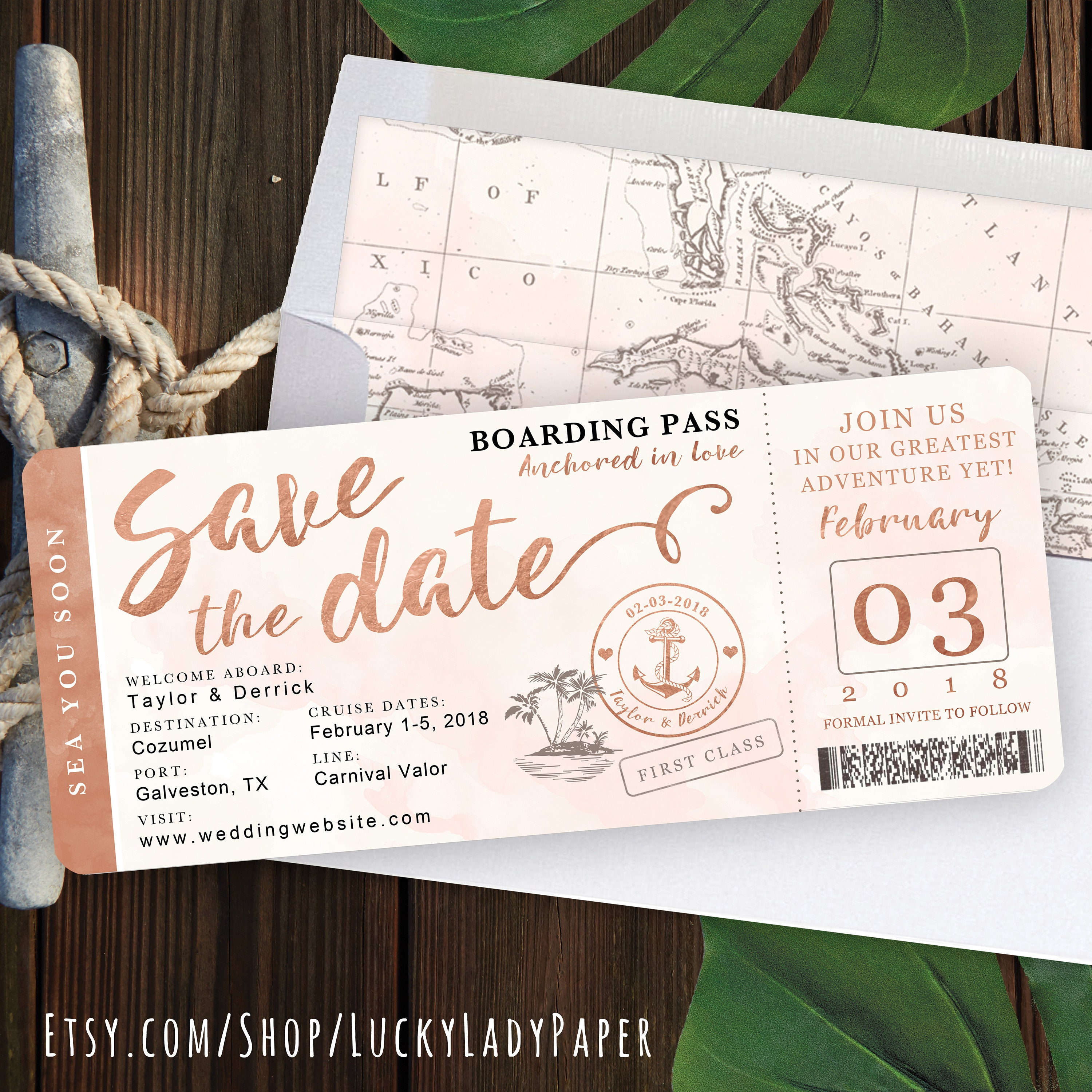 Save The Date Destination Wedding Invitations: Destination Wedding Boarding Pass Save The Date Invitation