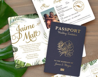 Tropical Beach Wedding Passport Destination Invitation Set in Gold with Green Foliage by Luckyladypaper - see details to order