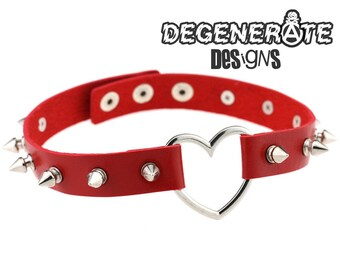 Punk Spiked Red Leather Heart Choker Collar Adjustable Spikey O Ring Choker Vegan