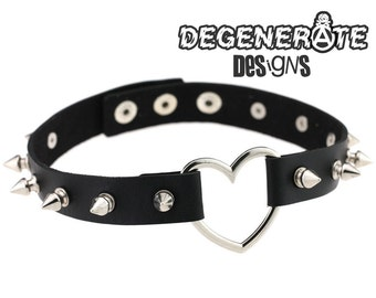 Spiked Black Leather Heart Choker Collar Punk Goth Adjustable Spikey O Ring Choker Vegan
