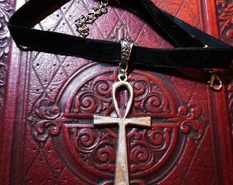 Ankh velvet choker necklace