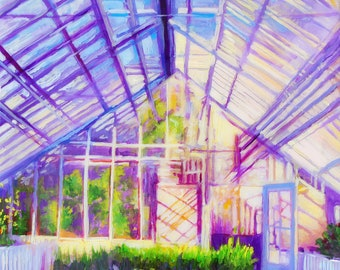 Botanical Art Print of painting in greenhouse // Giclee Print of original painting of luscious greenhouse