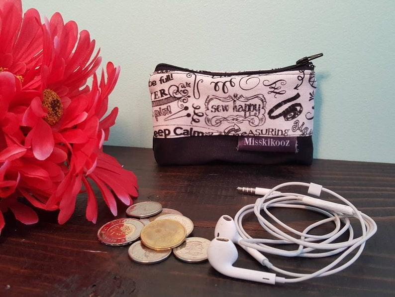 Black and white change purse sewing words