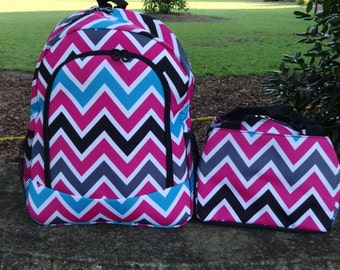 6f51486d28b1 Personalized Girls Backpack Chevron Backpack and Lunch Box Set