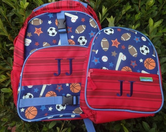 367d6f6dd4 Personalized Boys Backpack SET - SPORTS Backpack and Lunch Box Stephen  Joseph Backpack Set