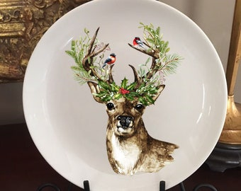 christmas plate christmas decor christmas deer deer plate home decor plate decorative plate christmas decoration deer decor
