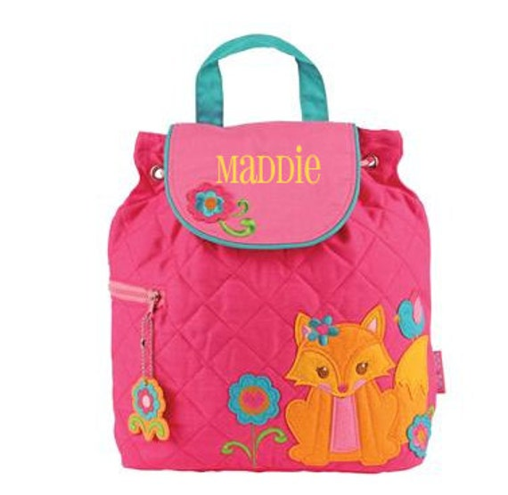 7916c91d42ca Personalized Girls Stephen Joseph Quilted FOX Backpack