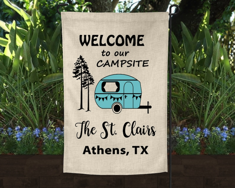 """Welcome to the Camper House Flag Outdoors RV Camping Fire Trees 2 sided 28/""""x40/"""""""