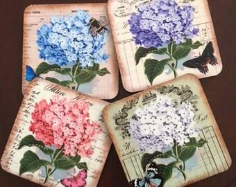 Coasters, Hydrangea Coasters, Flower Coasters, Cork back Coasters, Housewarming Gift, Hostess Gift